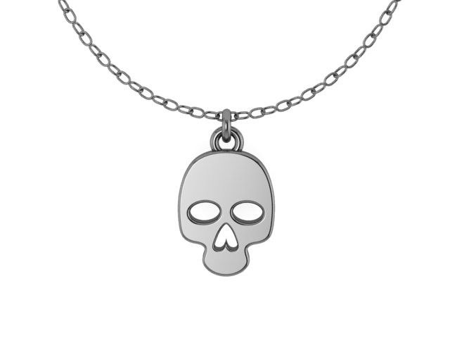Small Skull STERLING SILVER Pendant with sterling silver Chain- UDINC0517