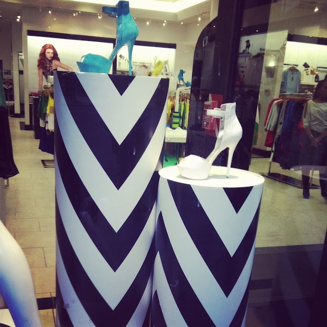 chevron columns for shoe displays at Bebe