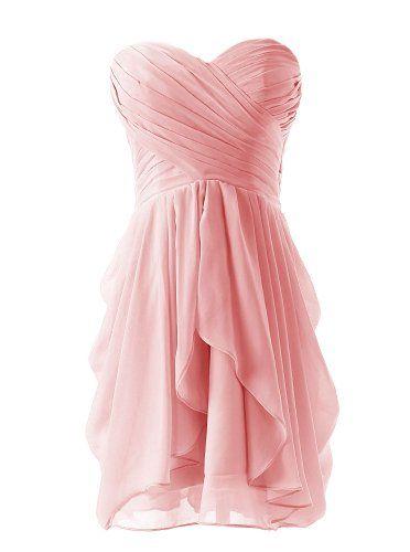 []  Dressystar Short Strapless chiffon party dress evening dress Pink 6 []---