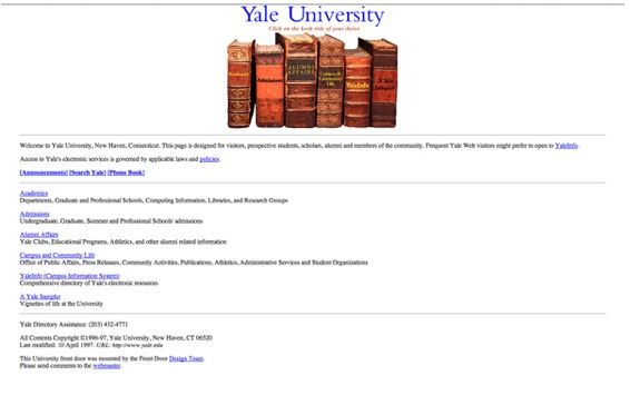 1st Yale University home page