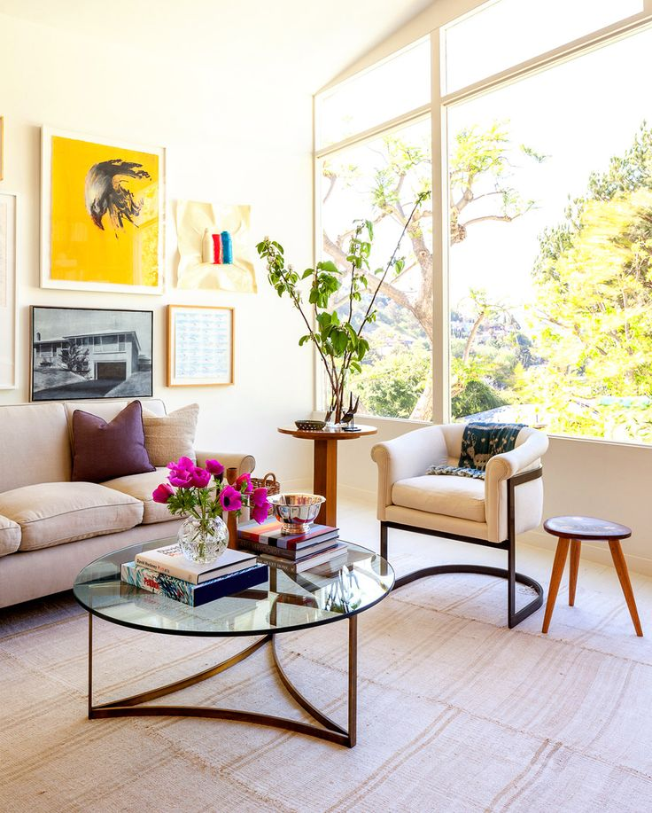 Neutral living room with beautiful plants and flowers