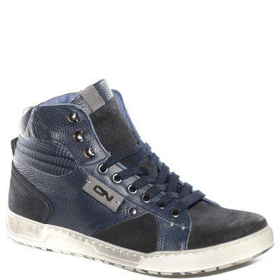 #Sneaker alta in pelle e camoscio blu