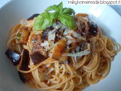 ...Miky homemade...: Spaghetti estivi con melanzana