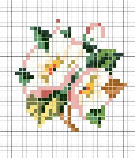 Apple blossom hama perler beads pattern