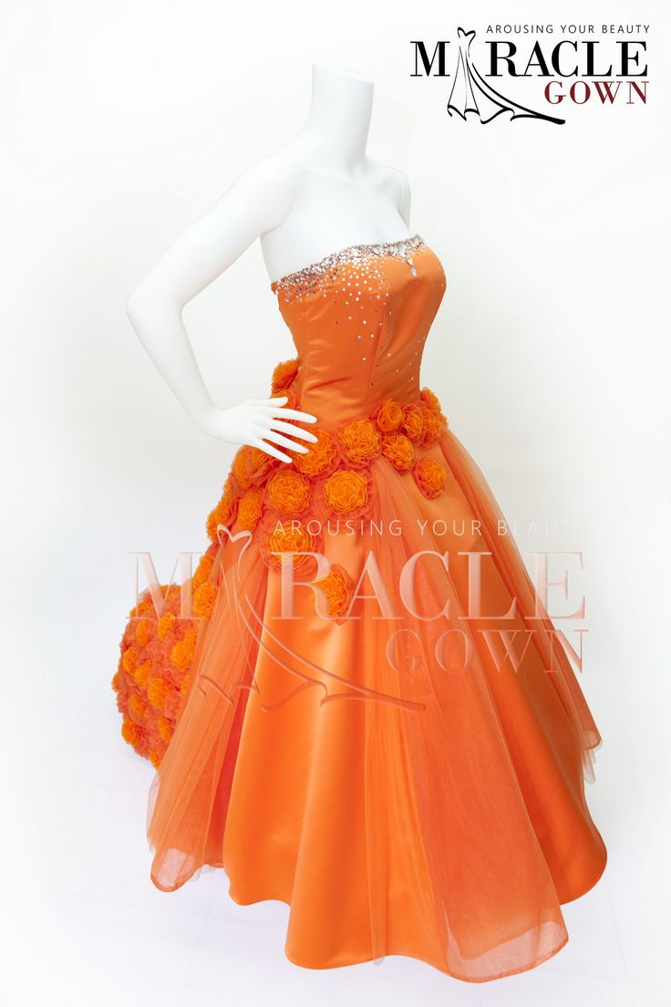 Puff Flower Strewment Upon Orange Chiffon Visit www.facebook.com/Miracle.Gown or www.gauncantik.com for further information  #Gaun Pesta #Gaun Malam #Evening Dress #Evening Gown #Splendid Evening Dress Design #Fashion Designer #Miracle Gown #Evening Dress Designer