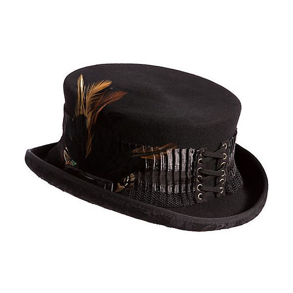 50e66afad71109 Steampunk London Lace Wool Top Hat ($85) ❤ liked on Polyvore featuring  accessories, hats, steampunk, top hat, victorian top hat, lace hat, band  hats and ...