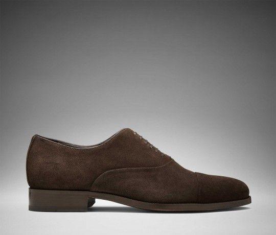En handgjord mörkbrun Oxfordsko med cap toe av mocka | Scarosso | Scarosso