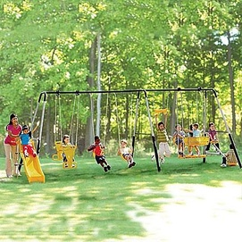 Safety 1st 39 manchester 39 6 leg swing set for Swing set frame only