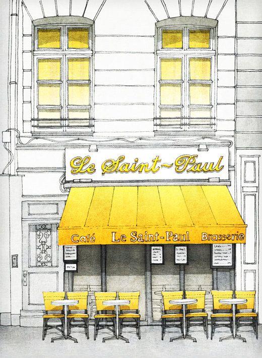 SALE Paris illustration Le Saint Paul 5x7 art print by tubidu