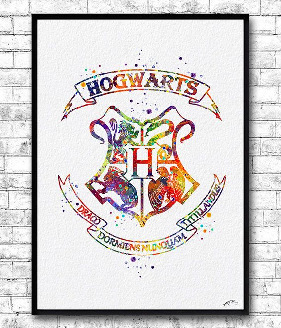 Hogwarts Crest Watercolor Print Harry Potter Fine Art by ArtsPrint