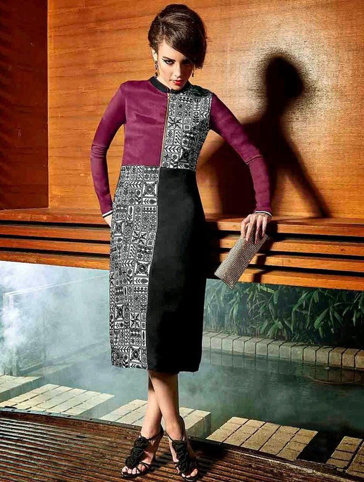 Fashionable Black & Magent Readymade Kurti