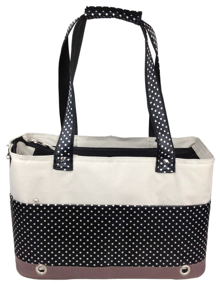 the pet life fashion tote spotted pet carrier features front zippered closures for additional head room this dog carrier features full mesh and
