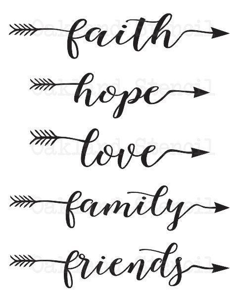 faith hope love family friends STENCIL 6