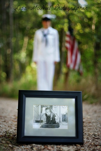 Senior pictures... not exactly this... but using the idea... little kid picture with college sr in background
