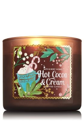 "Hot Cocoa & Cream - 3-Wick Candle - Bath & Body Works - The Perfect 3-Wick Candle! Made using the highest concentration of fragrance oils, an exclusive blend of vegetable wax and wicks that won't burn out, our candles melt consistently & evenly, radiating enough fragrance to fill an entire room. Topped with a flame-extinguishing lid! Burns approximately 25 - 45 hours and measures 4"" wide x 3 1/2"" tall."