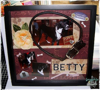 Memory Shadow box of cousins dog