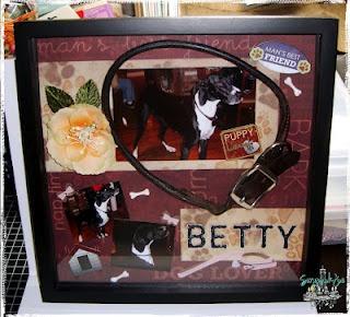 Memory Shadow box of cousins dog