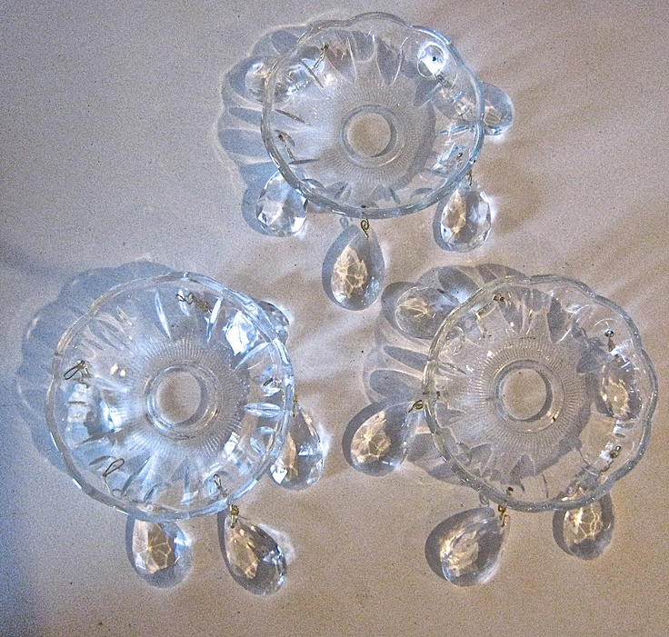 Crystal Chandelier Bobeches Three Clear Glass Candle Rings Wax Catchers With Teardrop Crystals 5