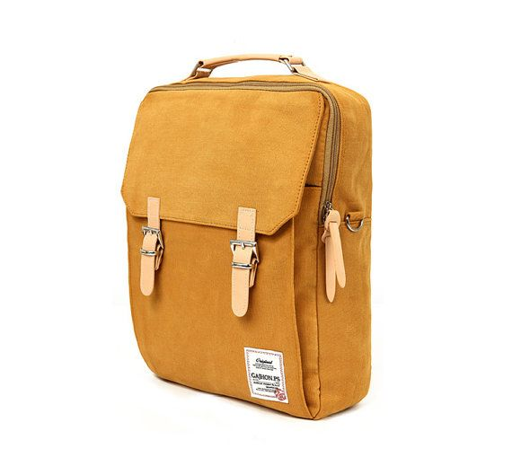 Cotton Square Backpack Mustard por BagDoRi en Etsy