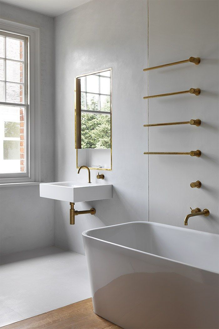 VOLA brass taps and accessories for bathroom Work   William Smalley Architect