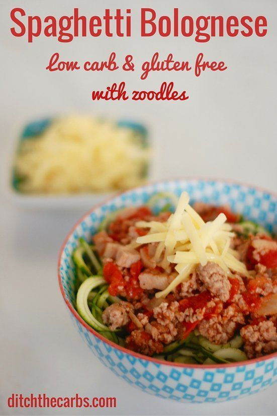 What are zoodles? Click to see an easy recipe for low carb, gluten free, wheat free spaghetti bolognese which is incredibly healthy, fresh and nutritious. #lowcarb #sugarfre #glutenfree   ditchthecarbs.com