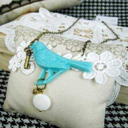 Blue Sweet Candy Bird Necklace