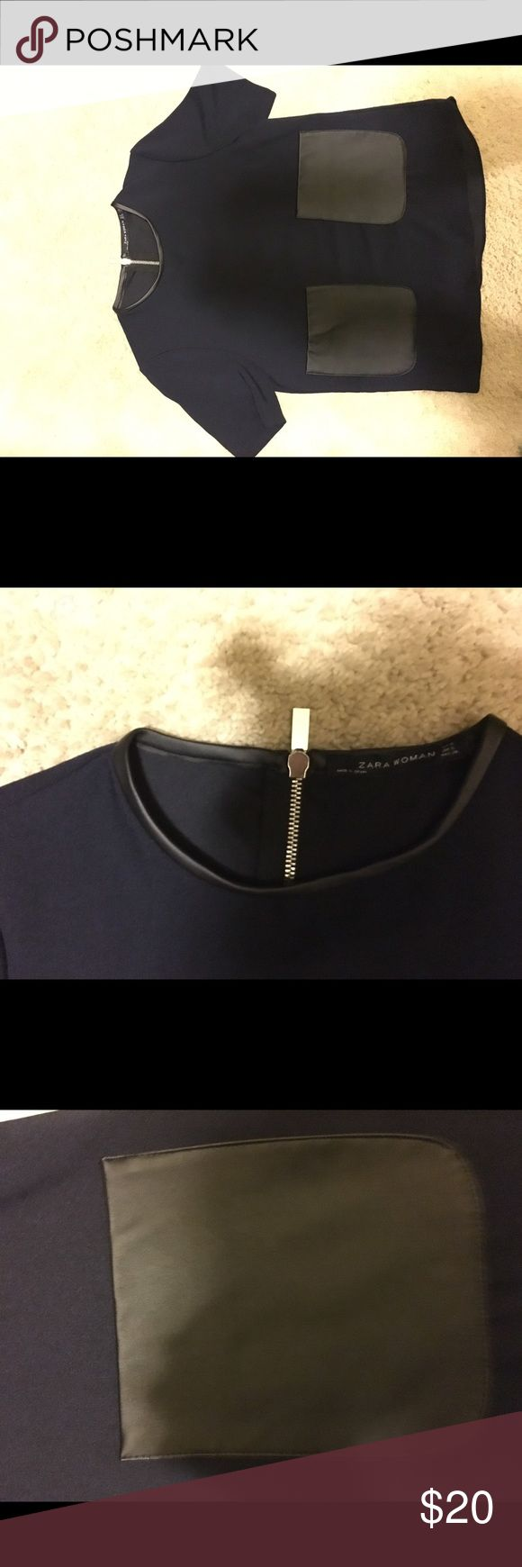 Cute ZARA navy top Navy short sleeve top with faux leather pocket detail Zara Tops Blouses