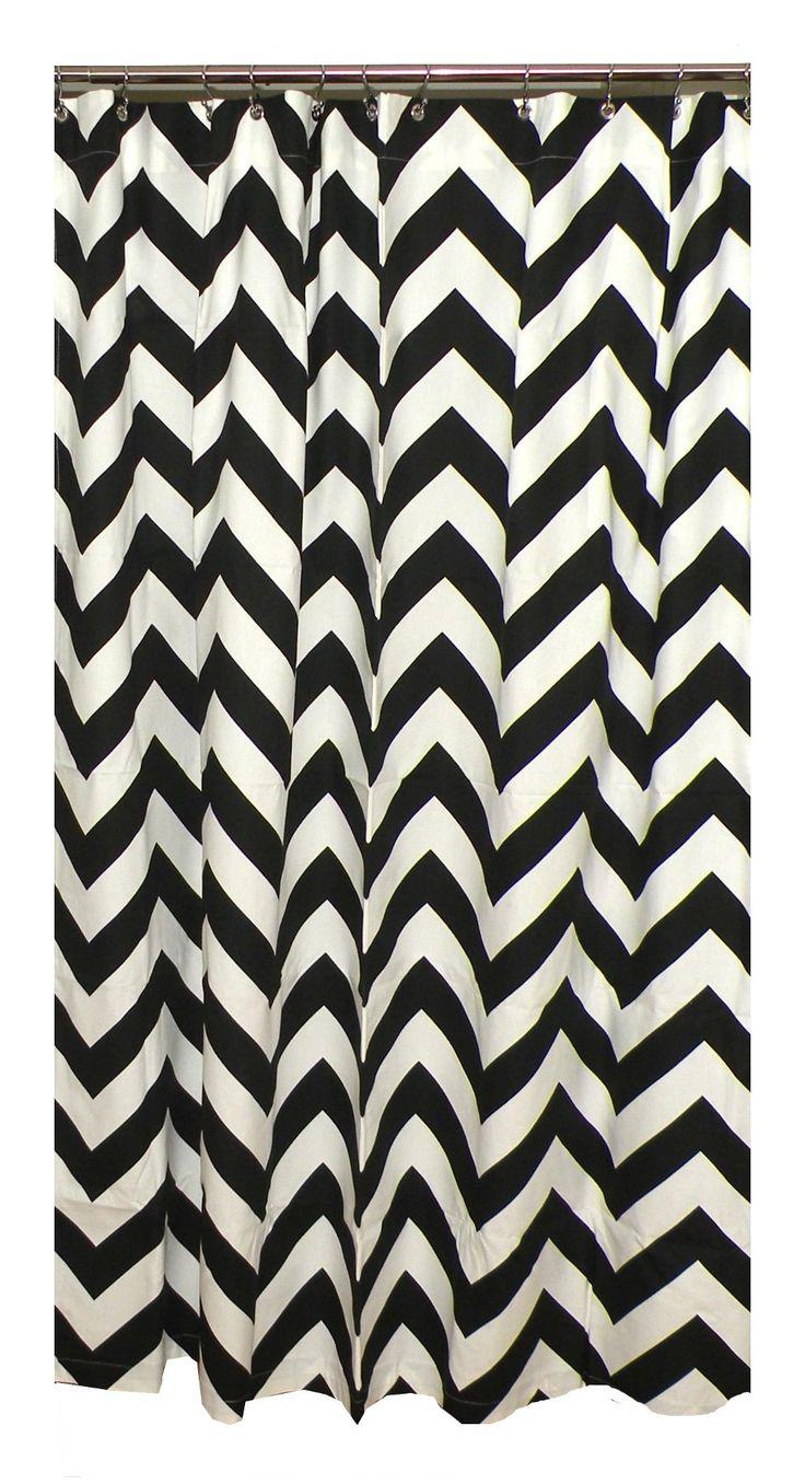 Black and white chevron curtain - Black And White Chevron Shower Curtain