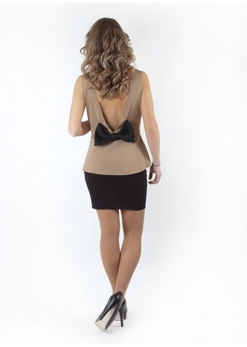 BASICS Top with bow open back Beige