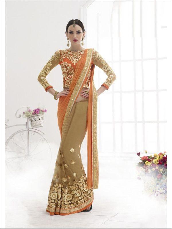 Brown Party Wear Lycra/Net Saree
