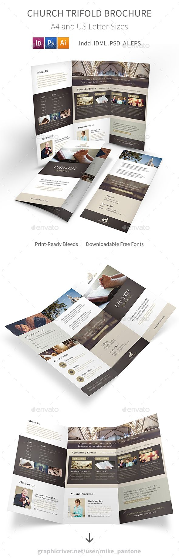 Church Trifold Brochure Template PSD, Vector EPS, InDesign INDD, AI Illustrator