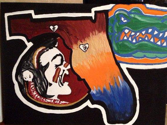 House Divided UF FSU canvas florida  by Therachelburke on Etsy