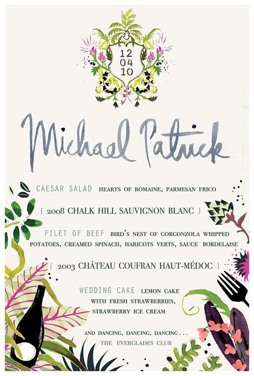 hand-painted menu by Happy Menocal via David Stark