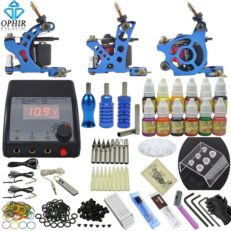 83.75$  Buy now - http://ali0o9.worldwells.pw/go.php?t=1360204363 - OPHIR Complete Tattoo Kit 3 Tattoo Machine & 12 Color Tattoo Inks & 50pcs Needle Nozzle Crip Tips Set for Body Tattoo Art _TA082