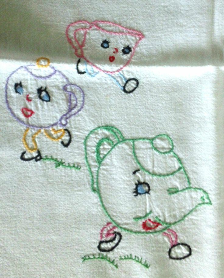Vintage Hand Embroidered Tea Towels Tea Time  