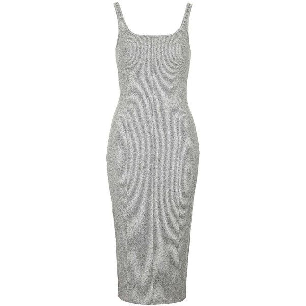 TOPSHOP TALL Ribbed Midi Bodycon Dress (42 BRL) ❤ liked on Polyvore featuring dresses, topshop, grey, short dresses, body con dress, grey midi dress, bodycon mini dress, mid calf dresses and short grey dress