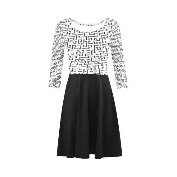 Vintage designers dress : black and white by RosemaryWellnessShop