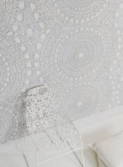 lace, subtle textured wallpaper: on ceiling instead of walls. Almost not noticeable