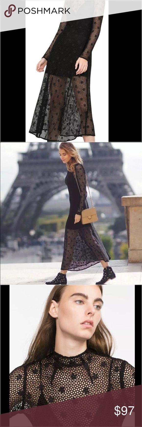 Zara Black Crochet Long Dress XS ZARA  LONG CROCHET DRESS ( comes with under slip)  SOLD OUT BLOGGERS FAVORITE  Color: Black  Size: XS Zara Dresses Maxi