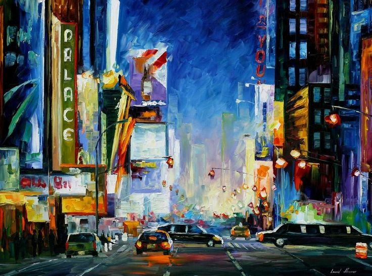 BROADWAY You can get 15% discount! Use this discount coupon - x25mk721oz http://afremov.com/BROADWAY-PALETTE-KNIFE-Oil-Painting-On-Canvas-By-Leonid-Afremov-Size-30-x40.html?bid=1&partner=14089