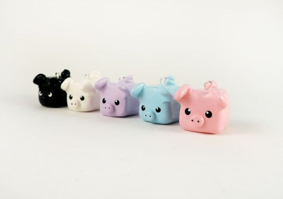 Choose Your Own Little Square Pig Charm Necklace Polymer Clay Jewelry
