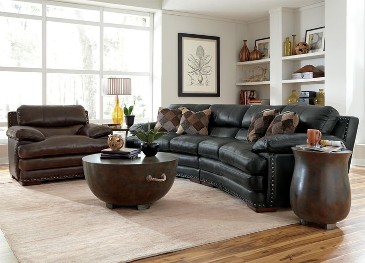 Flexsteel Latitudes- Dylan Leather Conversation Sofa with Nailhead Trim.  Available at www.muellerfurniture - 12 Best Images About Living Room Furniture On Pinterest Miami