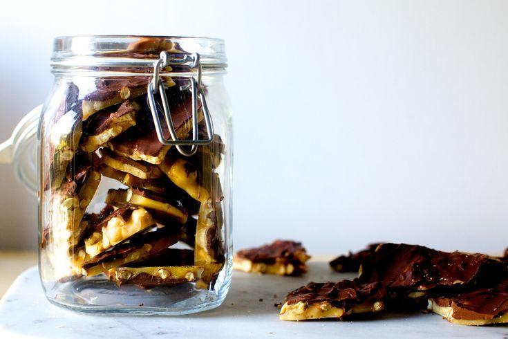 chocolate peanut and pretzel brittle | smittenkitchen.com