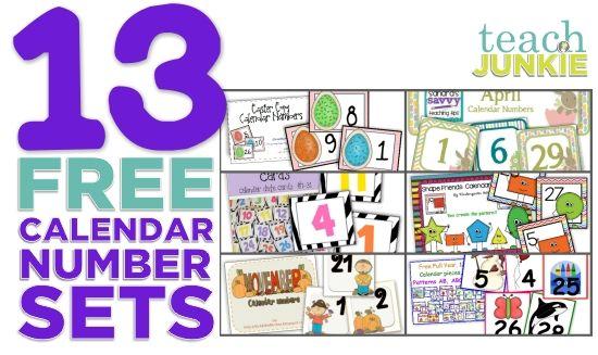 Teach Junkie: 13 Printable Calendar Numbers {Free Download Sets}