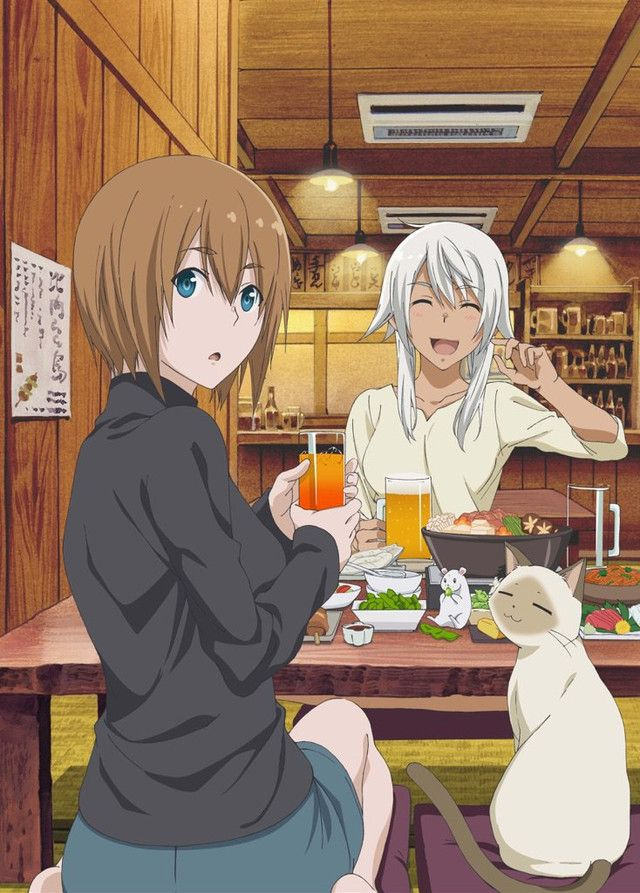"""Crunchyroll - Akane And Pretty Inukai Go Out Drinking In """"Flying Witch"""" Cover And Bonus Art"""