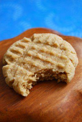 Super soft peanut butter cookies. 1 1/2 cups AP flour1/2 teaspoon baking powderpinch of salt1/2 cup butter3/4 cup peanut butter1 1/2 teaspoons vanilla extract1/2 cup brown sugar1/2 cup white sugar2 medium sized eggsextra sugar for rolling