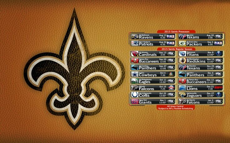 2015 New Orleans Saints Schedule Can't wait to go to my first home game!