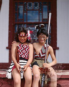 Stock Photo #442-7401, Young Maori Girl and Boy Dressed in Traditional Maori Dress, Rotorua, North Island, New Zealand