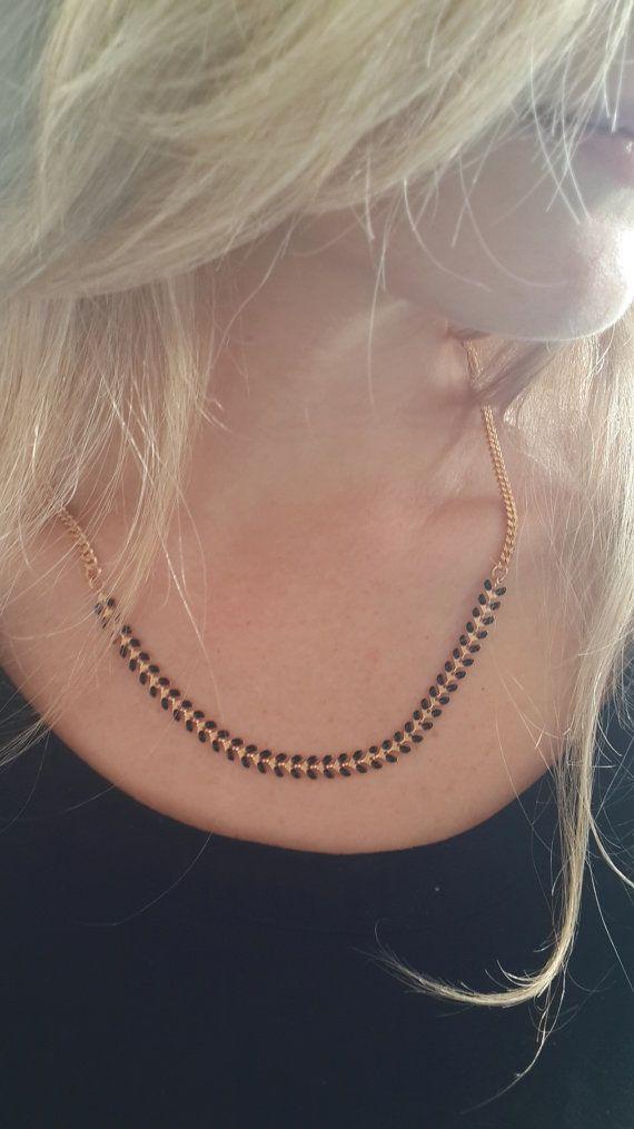 Black And Gold Necklace Chevron necklace V by netalyshany