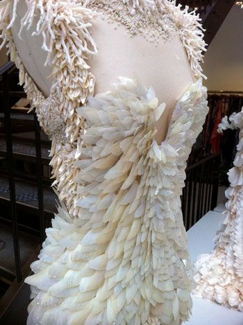Alexander McQueen haute couture, Paris Fashion Week, coral , pearls, feathers, shells, chiffon, tulle , beading, embroidery, fashion designer Sarah Burton, seed pearls, Spring 2012 .